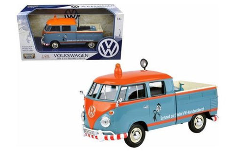 VOLKSWAGEN TYPE 2 (T1) DELIVERY PICKUP TRUCK BLUE/ORANGE 1:24 BY MOTORMAX
