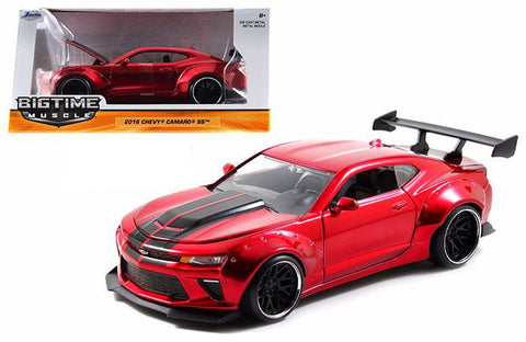 JADA 1:24 SCALE BIGTIME 2016 CANDY RED CHEVY CAMARO WIDE BODY 1/24 WITH GT WING