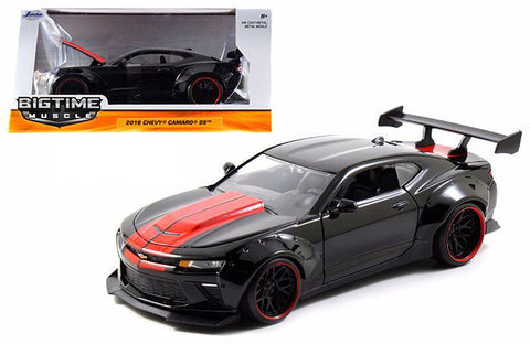 JADA 1:24 BIG TIME MUSCLE 2016 CHEVY CAMARO WIDE BODY GT WING BLACK RED STRIPES