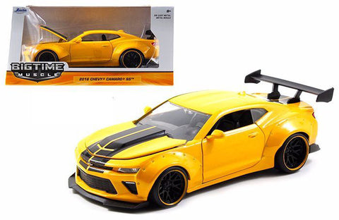 JADA 1:24 BIG TIME MUSCLE 2016 YELLOW CHEVROLET CAMARO SS WIDE BODY WITH GT WING
