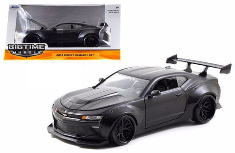 JADA 1:24 BIG TIME MUSCLE 2016 MATTE BLACK CHEVROLET CAMARO SS WIDE BODY WITH GT WING