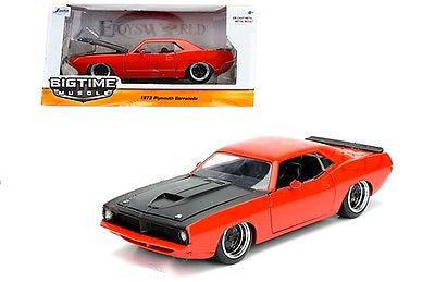 1:24 Scale Big Time Muscle 1973 Orange Plymouth Barracuda with Black hood by Jada