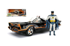 JADA METALS 1:24 SCALE - BATMAN CLASSIC TV SERIES (1966) - BATMOBILE & BATMAN (ROBIN IN CAR)