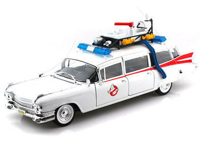 "Hot Wheels 1:18 Scale 1959 Cadillac Ambulance Ecto-1 From ""Ghostbusters 1"" Movie Diecast Model Car"