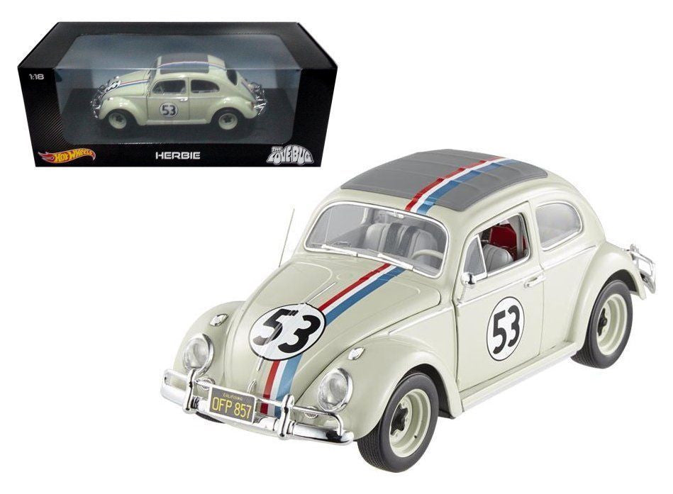 "Hot Wheels 1:18 Scale Volkswagen Beetle ""The Love Bug Movie"" Herbie #53 Diecast Model Car"