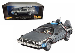 BACK TO THE FUTURE TIME MACHINE DELOREAN 1/18 DIECAST MOVIE MODEL CAR BY HOTWHEELS