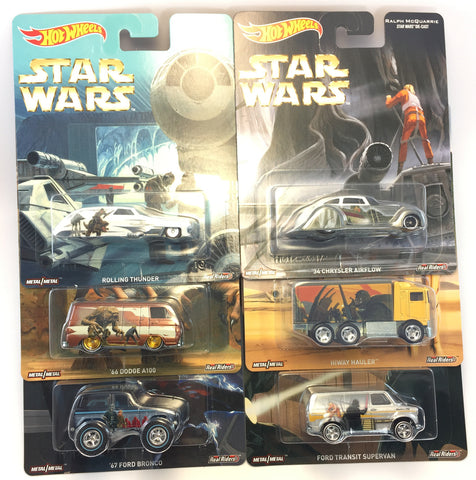 Hot Wheels 1:64 Scale Ralph McQuarrie Star Wars Movie Diecast Mdoel Car Set of 6 cars - DLB45-956F