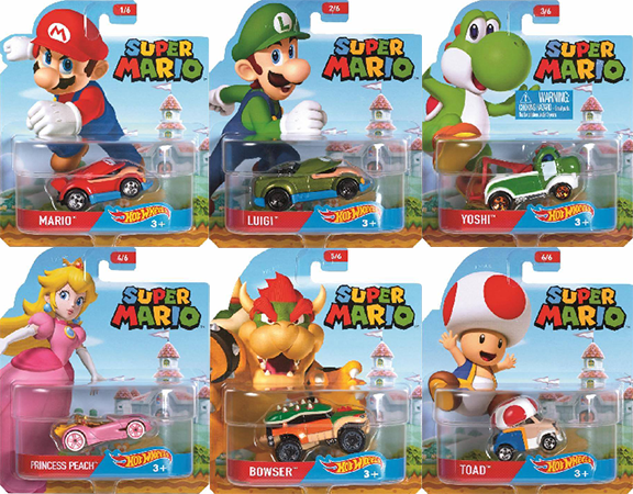 "HOT WHEELS 1:64 SUPER MARIO ASSORTMENT ""B"" DIECAST CAR SET OF 6 DMH73-999B"