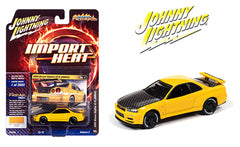 Johnny Lightning 1:64 Import Heat 2000 Yellow Nissan Skyline GT-R BNR34 JLCP7333