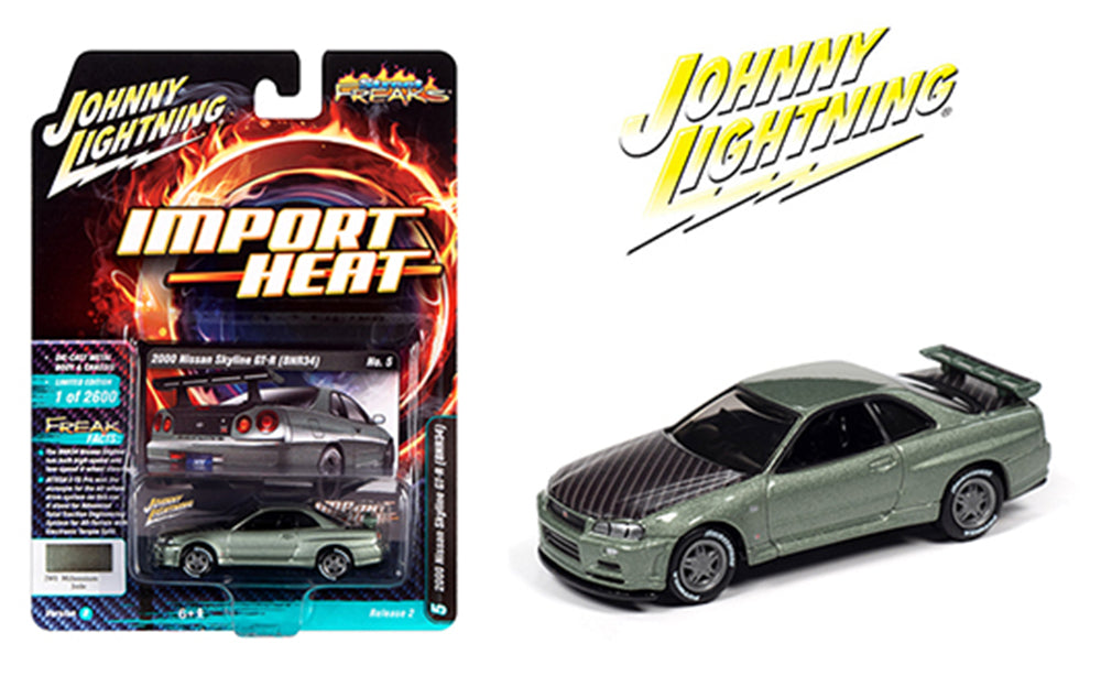 Johnny Lightning 1:64 Import Heat 2000 Jade Nissan Skyline GT-R(BNR34) JLCP7334