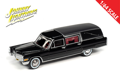 Johnny Lightning 1:64 1966 Black Cadillac Hearse Diecast model Car JLSP089