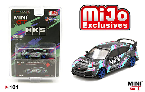 MINI GT 1:64 MiJo GREY HONDA CIVIC TYPE R HKS TIME ATTACK DIECAST CAR MGT00101