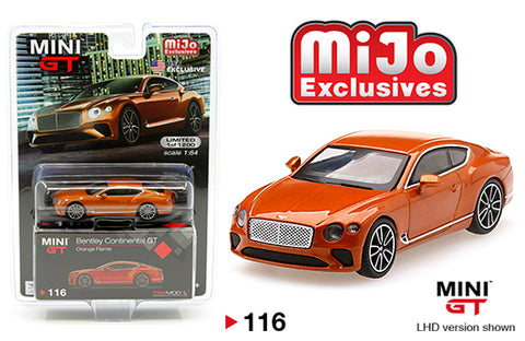 MINI GT 1:64 MiJo Exclusives Bentley Continental GT (Orange Flame) Car MGT00116