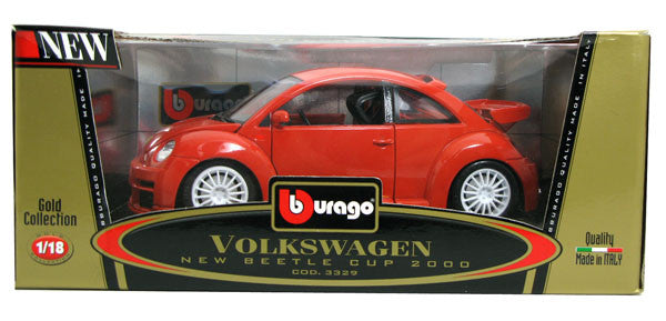 BBURAGO 1:18 GOLD EDITION RED NEW BEETLE CUP 2000 COUPE  DIECAST MODEL CAR