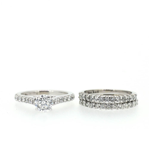 Round Diamond Ring Set - Accented Solitaire
