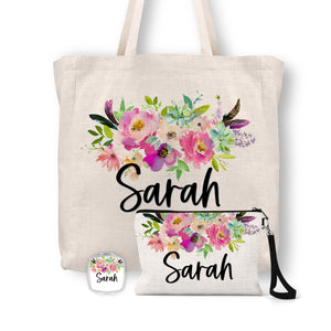 Personalized Floral Tote Bag, Cosmetic Bag & Compact Mirror Gift Set - GS0001