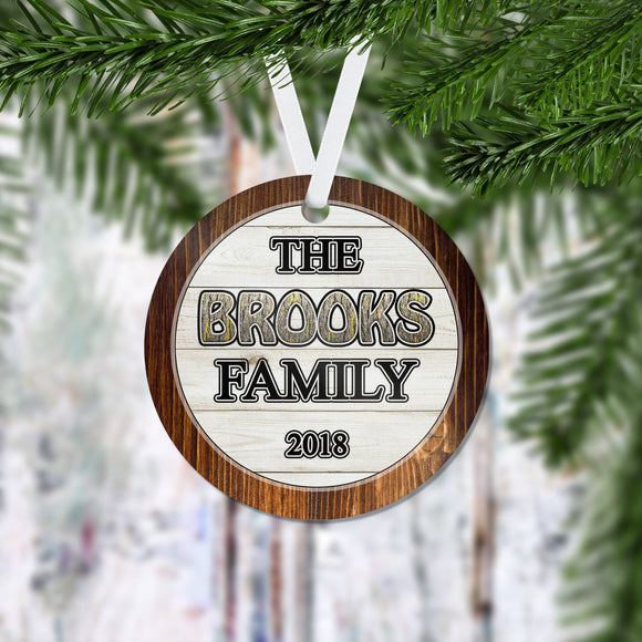 Family Personalized Christmas Ornament - Our 1st Christmas - Newlywed Ornament - Family Name Ornament - Free Shipping - RO0061