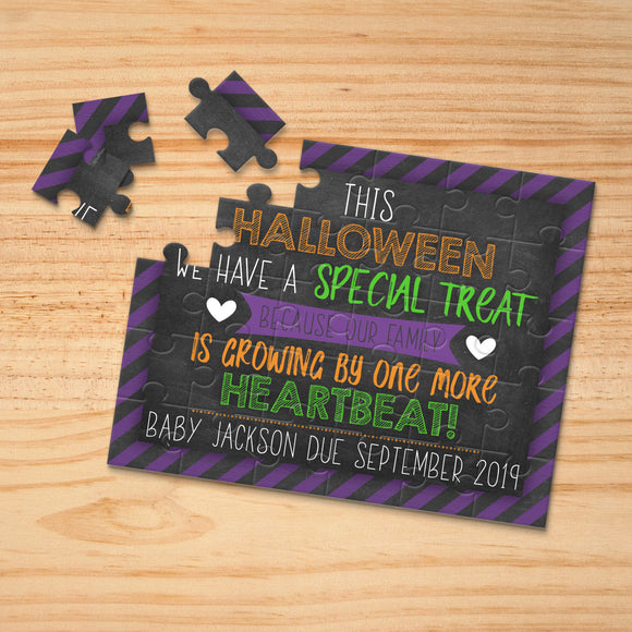Personalized Halloween Themed Pregnancy Announcement Puzzle - P2349
