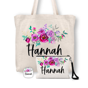 Personalized Floral Tote Bag, Cosmetic Bag & Compact Mirror Gift Set - GS0003