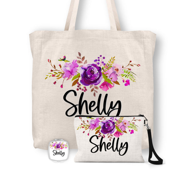 Personalized Floral Tote Bag, Cosmetic Bag & Compact Mirror Gift Set - GS0004