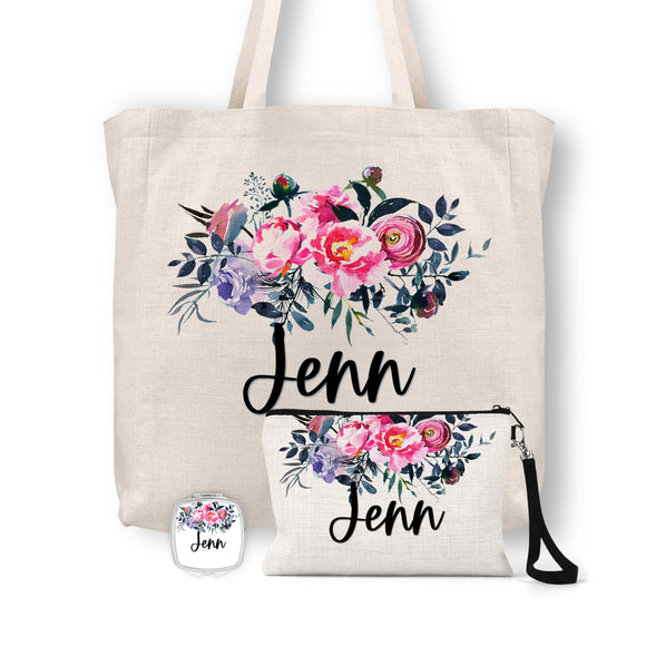 Personalized Floral Tote Bag, Cosmetic Bag & Compact Mirror Gift Set - GS0005
