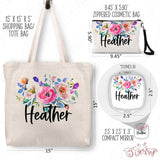 Personalized Floral Tote Bag, Cosmetic Bag & Compact Mirror Gift Set - GS0007