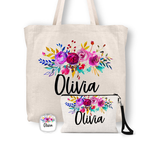 Personalized Floral Tote Bag, Cosmetic Bag & Compact Mirror Gift Set - GS0008