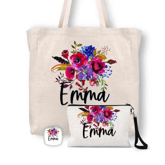 Personalized Floral Tote Bag, Cosmetic Bag & Compact Mirror Gift Set - GS0009