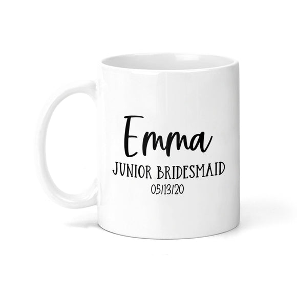 Personalized Junior Bridesmaid with Date Coffee Mug - M0537