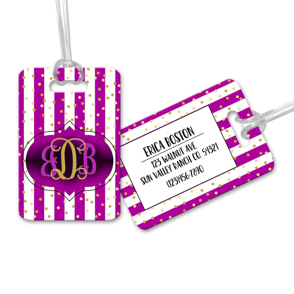 Personalized Purple Striped Luggage Tag - LT0003