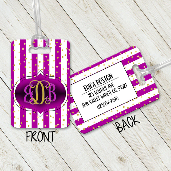 Luggage Tags Personalized Monogram - Initial Luggage Tag - Custom Luggage Tag - Address Tag - Monogram Luggage Tag - Travel Bag Tag - LT0003