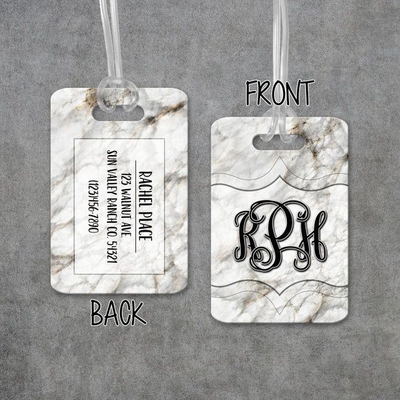 Luggage Tags Personalized Marble Monogram - Initial Luggage Tag - Custom - Address Tag - Monogram Luggage Tag - Travel Bag Tag - LT0004