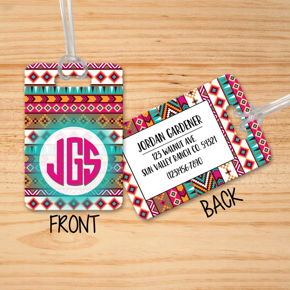 Boho Luggage Tags Personalized Monogram - Initial Luggage Tag - Custom Luggage Tag  - Monogram Luggage Tag - Travel Bag Tag - LT0005