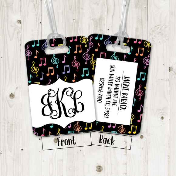 Luggage Tags Personalized Musical Notes Monogram - Initials - Custom Luggage Tag - Address - Monogram Luggage Tag - Travel Bag Tag - LT0006
