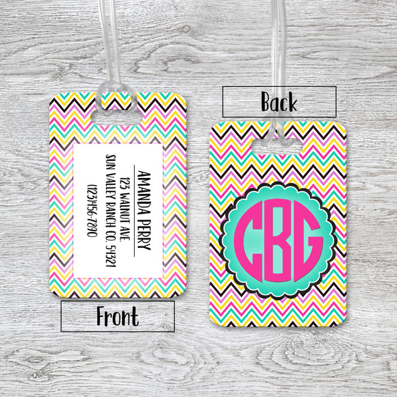 Luggage Tags Personalized Chevron Monogram - Initial - Custom Luggage Tag - Address Tag - Monogram Luggage Tag - Travel Bag Tag - LT0008