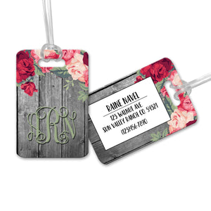 Personalized Floral & Wood Luggage Tag - LT0011