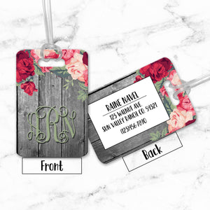 Luggage Tags Personalized  Floral Flower Wood Monogram - Initial Luggage Tag - Custom - Address Tag - Monogram - For Travelers - LT0011