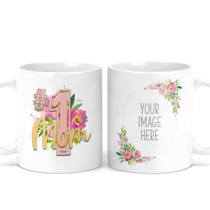 #1 Mom Custom Photo Floral Mug - M0547