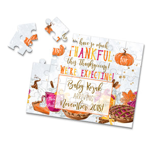 Personalized Thanksgiving Pregnancy Announcement Puzzle - P0036