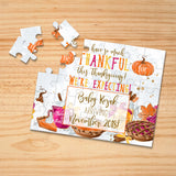 Personalized Thanksgiving Themed Pregnancy Announcement Puzzle - P0036