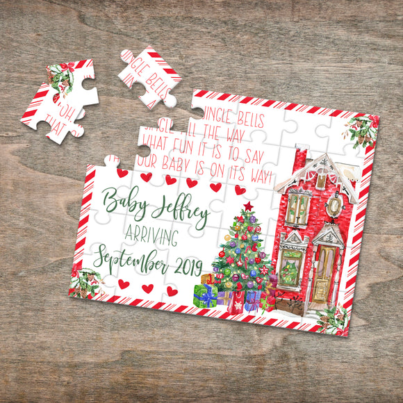 Personalized Christmas Pregnancy Announcement Puzzle - P0051