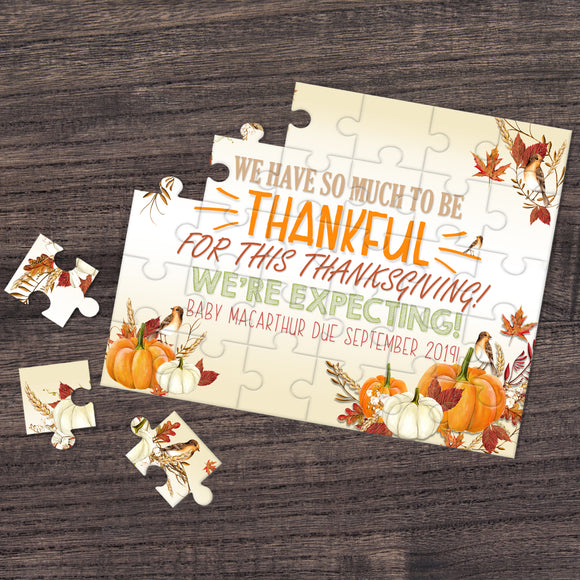 Thanksgiving Themed Pregnancy Announcement Puzzle - P2130