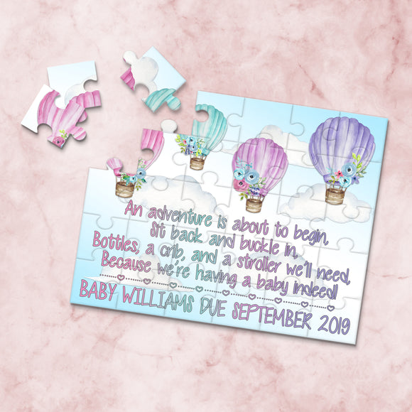 Personalized Hot Air Balloon Pregnancy Announcement Puzzle - P2307