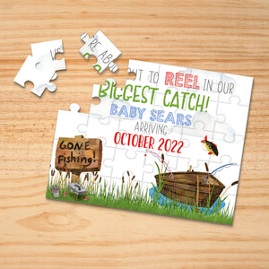 Personalized Fishing Pregnancy Announcement Puzzle - P2330