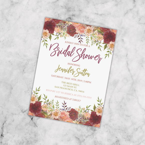 Personalized Floral Bridal Shower Invitation - PI0003