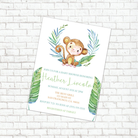 Personalized Jungle Animal Baby Shower Invitation - PI0011