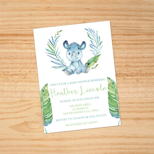 Personalized Jungle Animal Baby Shower Invitation - PI0012