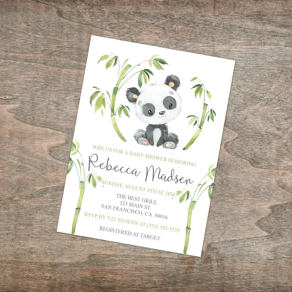 Personalized Panda Animal Baby Shower Invitation - PI0015