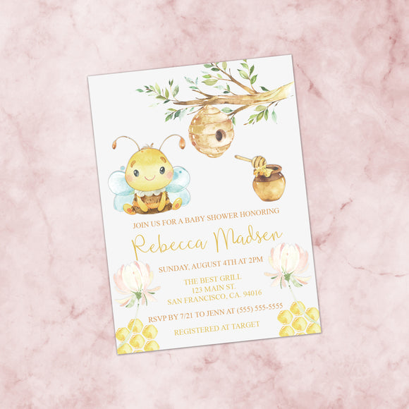 Personalized Bumble Bee Baby Shower Invitation - PI0016