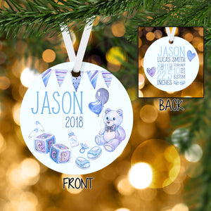 Personalized Baby Boy Christmas Ornament Handmade - Christmas Baby Announcement 2018 - RO0005